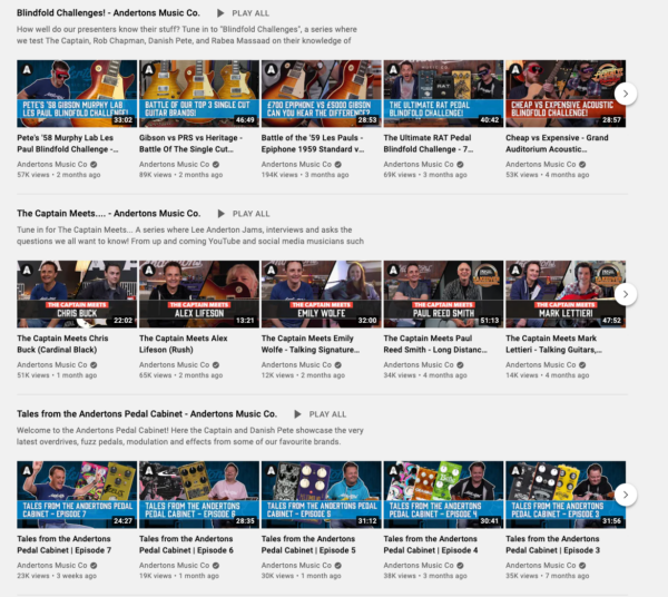 Example of a well-organized YouTube homepage