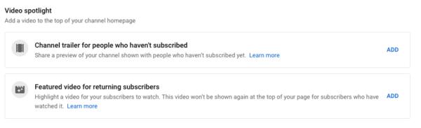 Screenshot of Video spotlight settings in YouTube
